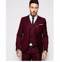 Wholesale Pinstripe Suit Costume - 2018 New Design Men Wedding Suits Groom Formal Suit Two Buttons Burgundy Tuxedo Jacket Men Suit 3 Pieces Costume Homme