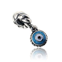 Wholesale Glass Evil Eye Necklace - 925 Sterling Silver Blue Evil Eyes Dangle Charm Bead with Enamel Fits European Pandora Jewelry Bracelets & Necklaces