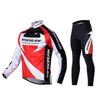ekip gökyüzü siyah mayo toptan satış-MYSENLAN erkek Kış Sıcak Uzun Kollu Bisiklet Jersey + Tayt (Takım Elbise) Polar Kırmızı