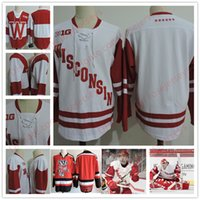Wholesale Red Tens - Custom Wisconsin Badgers Red White 19 Cameron Hughes 33 Kyle Hayton Jake Linhart 18 Seamus Malone Big Ten College Hockey Stitched Jerseys