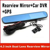 Wholesale Car Photograph - 4.3 inch Dual Lens Rearview Mirror HD 1080P Car DVR GPS Rearview Blue Mirror H.264 Infrared Parking Backup Camera G-sensor PIP Photograph