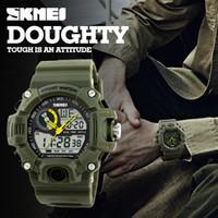 часы двойные цифровые часы оптовых-SKMEI Марка Reloje Hombre стиль цифровой двойной s шок часы мужчины мода человек Спортивные часы люксовый бренд военная армия