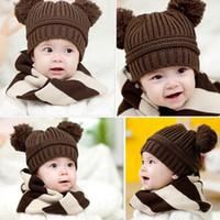 chapéus das crianças do bombardeiro venda por atacado-5 cores Pure Crochet Bebê Gorros Skullies Boinas Meninos Meninos Cap Inverno Quente Bomber Chapéus Frete Grátis