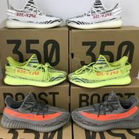 Wholesale Pink Fishing Box - 2018 Kanye West Sply 350 V2 blue tint Semi Frozen Yellow Cream Zebra Bred Black Red Beluga 2.0 Sports Sneaker