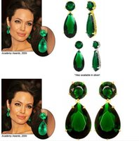 Wholesale Angelina Jolie Earrings - Oscar Red Carpet Emerald Crystal Droplet Earring Angelina Jolie Design Luxury Lady Night Party Jewelry
