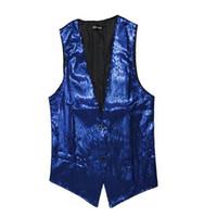 ingrosso maglia nera sottile da uomo-Gilet uomo nero blu abiti casual scollo av senza maniche slim paillettes DJ stage gilet discoteca bar maglia uomo abbigliamento Asia taglia M-3XL