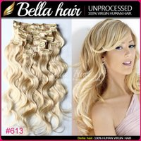 18 613 clip haar mensch groihandel-Bella Hair 8A Clip in Haarverlängerung # 27 # 60 # 613 Indische Menschenhaar-Schusskörperwelle 115g / set 10pcs / set freies Verschiffen