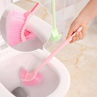 Wholesale Toilet Bowl Cleaning Brush - 2016 Toilet Brushes & Holders Hot Portable Toilet Brush Scrubber Cleaner Clean Brush Bent Bowl Handle Free Shipping