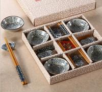 ingrosso piatti di fiori-Set di 12 piatti di porcellane giapponesi in porcellana blu 12 pezzi con bacchette di bambù e supporto decorato a mano con motivo floreale fortunato