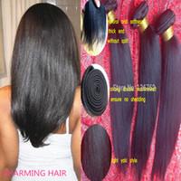 Wholesale Straight Light Yaki Weave - Unprocessed Brazilian Straight Light Yaki Virgin Hair 3pcs lot Kinky Straight Brazilian Light Yaki Hair Weft Weaves Italy Yaki