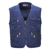 Wholesale Denim Waistcoat Men - Fall-Men Plus Size Fishing Hiking Sleeveless Jacket Denim Vest Outdoor Casual Multi-Pocket Waistcoat Jeans Vests Plus