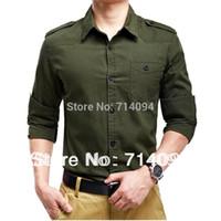 Wholesale Wool Shirt 4xl - Free shipping 2015 summer new men's shirt long-sleeved Slim stylish casual shirts Military style epaulets single pocket 6618