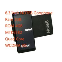 Wholesale Goophone Os - Unlocked Goophone Note8 6.3 Inch Note8 Goophone WCDMA 3G MTK6580 Quad Core RAM 1GB ROM 4GB Android 7.0 Note 8 Phone Can Show 4G 4GB 128GB