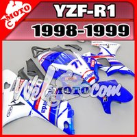 Wholesale 98 R1 - Welmotocom Aftermarket Injection Mold Fairing For Yamaha YZFR1 YZF-R1 YZF R1 1998 1999 98 99 White Blue Y18W31+5 Free Gifts