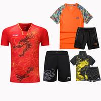 Wholesale table tennis suit - Lining 2017 men's badminton sport T - shirt, match suit, Lining badminton shirt + shorts, table tennis shirt, polyester fiber quick dry