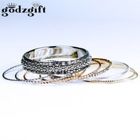 Wholesale Colorful Gold Plated Bangles - Godzgift 10Pcs Lot Crystal Gold Silver Colorful Stainless Steel Bangle Set Cuff Love Bracelets & Bangles Women Open Wedding Jewelry JB0001