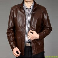 Wholesale Septwolves Jacket - Fall-SEPTWOLVES Men's short design stand collar second layer leather jacket men zip up jackets 2015spring and autumn free shipping