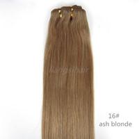 extensões de cabelo humano loiro cinza venda por atacado-Extensões de Cabelo indiano Indiano brasileiro Malaio Peruano Tecer Cabelo Humano Trama Do Cabelo Em Linha Reta Grau 6A 100g 1 pcs 14