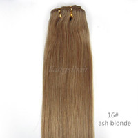 "Wholesale Ash Hair Extensions - Indian Hair Extensions Brazilian Indian Malaysian Peruvian Human Hair Weave Straight Hair Weft Grade 6A 100g 1pcs 16""-26"" 16# Ash Blonde"