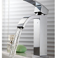 Wholesale Square Sink Faucet - Wholesale And Retail Free Shipping Brand NEW Bathroom Waterfall Square Faucet Basin Sink Single Handle Mixer Tap