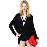 Wholesale Baggy T Shirts Womens - New Winter 2016 Spring Fashion Women T-Shirt Deep V-Neck Long Batwing Sleeve T shirt Womens Baggy Blusas Black