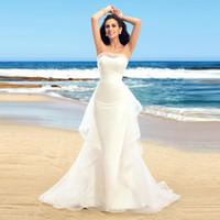Wholesale Organza Mermaid Strapless Wedding Dress - 2016 Hot Sale Organza Strapless Off The Shoulder Ruffles Floor Length Mermaid Wedding Dresses Long White Beach Wedding Dresses
