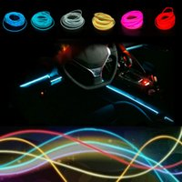 Wholesale car led glow neon - Universal Hot Sale meter Colors Flexible Neon Light Glow El Wire Rope Tape Cable Strip Led Lights Car Decorative Ribbon Lamps
