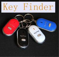 mavi ışık alarmı toptan satış-LED Işık ve Anahtar Anti-Kayıp Alarm Key Siyah / Beyaz / Mavi / Kırmızı Perakende Ambalaj ile Düdük Aktif Anahtar Bulucu