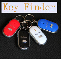 Buscador Azul Baratos-Whistle Activated Key Finder con LED Light y Switch Anti-Lost Alarm para Key Negro / Blanco / Azul / Rojo Retail Packing