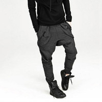 Wholesale hip hop baggy sweatpants - New Mens Drop Crotch Pants Baggy Hip Hop Sweatpants Trousers, Korean Harem Pants Joggers Outdoors Bandana Sport Pants