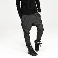 ingrosso pantaloni felpati da culo largo-Nuovi pantaloni da uomo con cavallo basso Pantaloni larghi da pantaloni sportivi hip-hop, pantaloni coreani harem Pantaloni da jogging all'aperto Pantaloni sportivi della bandana