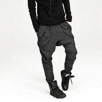 koşu pantolonu korece toptan satış-Yeni Erkek Bırak Crotch Pantolon Baggy Hip Hop Sweatpants Pantolon, Kore Harem Pantolon Joggers Açık Havada Bandana Spor Pantolon