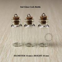 Wholesale Vial Glass Pendant Tube Bottle - 3ml Mini small glass bottles vials jars with corks decorative corked glass test tube bottle with cork for pendants mini 50pcs