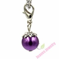 Wholesale Dangles Charms Clips - free shipping new fashion trendy pendant sex hot sell Royal Purple satin Faux Pearl dangle floating charm clip living locket bracelet