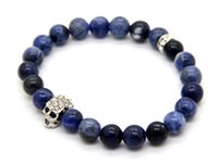 Wholesale Grade Acrylic Bead - 2015 New Design High Grade Jewelry Wholesale 8mm Natural Blue Veins Stone Beads Skull Bracelets Gifts for men and women
