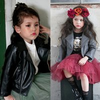 Wholesale Leather Jackets Without Collar - 2015 New Childrens Coat Two Colors Fashion PU leather Zipper Jacket Girls Boys American Style Long Sleeve Turn-down Collar PU Leather Coat
