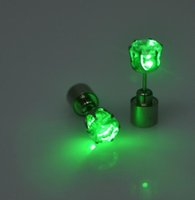 Wholesale dance earrings studs for sale - Group buy Christmas Party Light up CZ Crystal Earrings Men Women Kids Dance Club LED Luminous Stud Flash Diamond Earrings Festive Event Props Gift