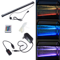 Wholesale Aquaria Led - Remote RGB Air Bubble LED Aquarium Light Fish Tank Coral Lamp Tube IP68 6W 18LEDs 46cm LED Light Bar Submersible Down Underwater LED Light