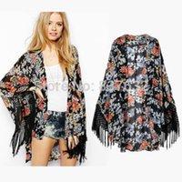 borla kimono vintage al por mayor-Al por mayor-2015 Vintage Retro mujeres étnicas borlas florales Kimono Cardigan Chaqueta de la chaqueta