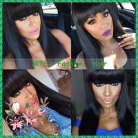 Wholesale Human Hair Bangs Frosted - Brazilian Virgin Full Lace Human Hair Wigs With Bangs Glueless Lace Front Wig Straight Full Lace Wig For Black Woman