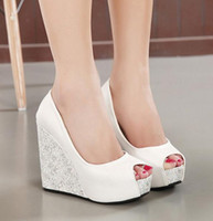Wholesale Brides Wedding Shoes - New white wedge heel bride wedding shoes blue peep toe high heel platform bridesmaid shoes 2 colors size 34 to 39