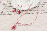 Wholesale Stylish Jewelry Sets - Wholesale-Luxury Stylish Wedding Decoration Jewelry Red Water Drop Crystal Dangle Rhinestone Silver Plated Pendant Necklace Earring Set