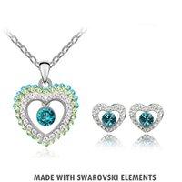 Wholesale Swarovski Necklace Designs - Jewelry Sets Fashion Swarovski Element Crystal 18K White Gold Plating Necklace Earring Stunning Heart Design 066