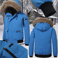Wholesale Canada Long Down Coat - Canada New Arrival sale men's Down parka Chilliwack Bomber Black Navy Gray Jacket Winter Coat  Parka Fur sale With Free Shipping Outlet