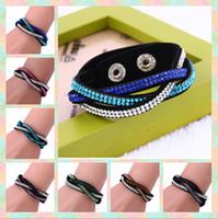 encantos de pulseiras venda por atacado-Pulseiras de cristal de strass slake pulseira pulseiras de couro genuíno envoltório pulseira Feitas à mão trança pulseiras de couro pulseiras de charme 10 pcs