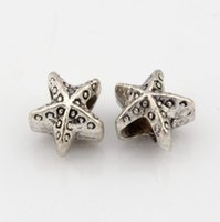 Hot! 100pcs Antique Silver Alloy Star Large Hole Bead Fit European Beads Pulseira 10.5x11mm DIY Jóias