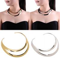 Wholesale Silver Hoop Choker - Wholesale-2015 Mesh Gold Chain Collar Statement Women Chunky Choker Necklace Feminino Elegant Dress Silver Metal Hoop Loop Layer Necklace
