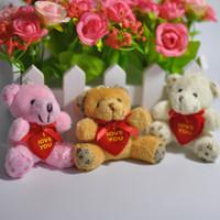 Wholesale Love Teddy Bear Doll - 5.5cm Cartoon Lovely Mini Scarf Teddy Bear I Love You Plush Pendants Toys Dolls Keychain Bouquet Phone Bag 20pcs Lot