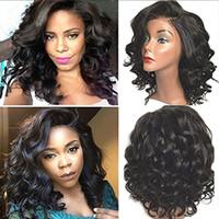 volle pferdeschwanzperücken großhandel-Kurze lockige brasilianische Haar volle Spitze Echthaar Perücken 130% Dichte für schwarze Frauen natürliche Farbe Pferdeschwanz 14 Zoll
