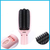 Wholesale Electric Massage Comb - 2016 2 in 1 Ionic Hair Straightener Brush Professional Comb Electric PTC Heating Straight hair Brushes Box Package